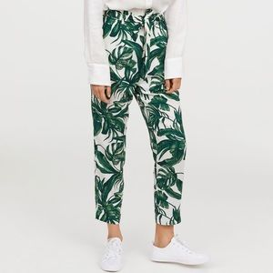 H&M Leaf Print Paper Bag Pants